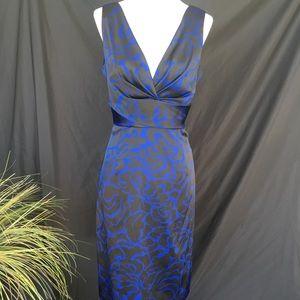 Designer Donna Ricco Fancy Black Blue Midi Dress 8